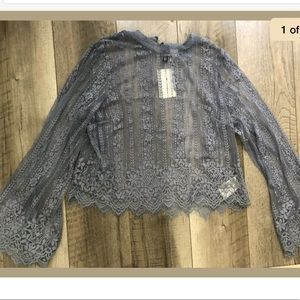 H&M Divided Light Blue Lace Top Ruffle Size 2 US